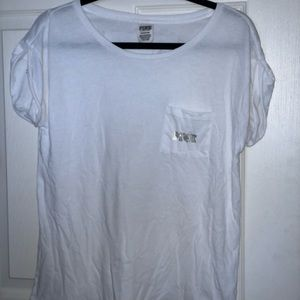 VS PINK white pocket tee